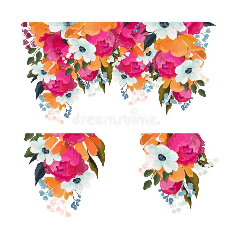 De inzameling van bloemenelementen met bossen van gemengde kleurrijke de zomerbloemen en de sierlijke bloesem isoleerden op wit v vector illustratie