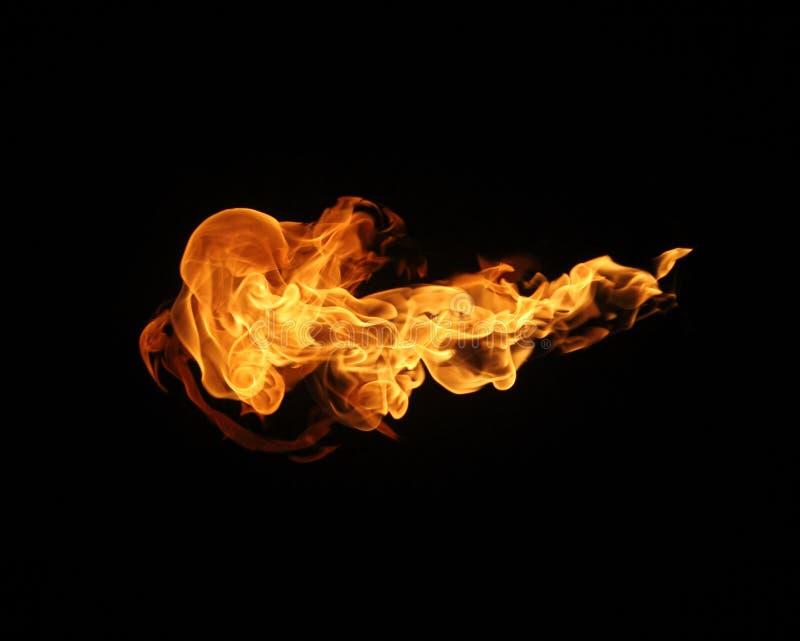 De inzameling van brandvlammen op zwarte achtergrond stock foto's