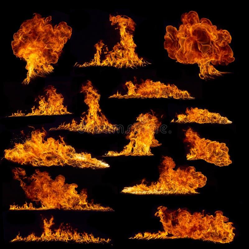 De inzameling van brandvlammen op zwarte achtergrond stock foto