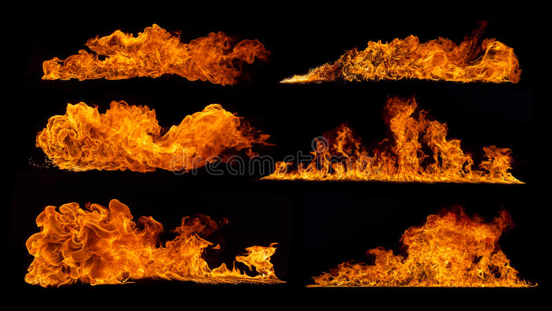 De inzameling van brandvlammen op zwarte achtergrond royalty-vrije stock afbeelding