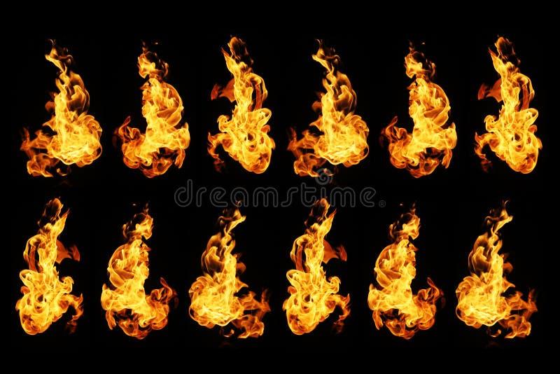 De inzameling van brandvlammen op zwarte achtergrond wordt geïsoleerd die stock foto