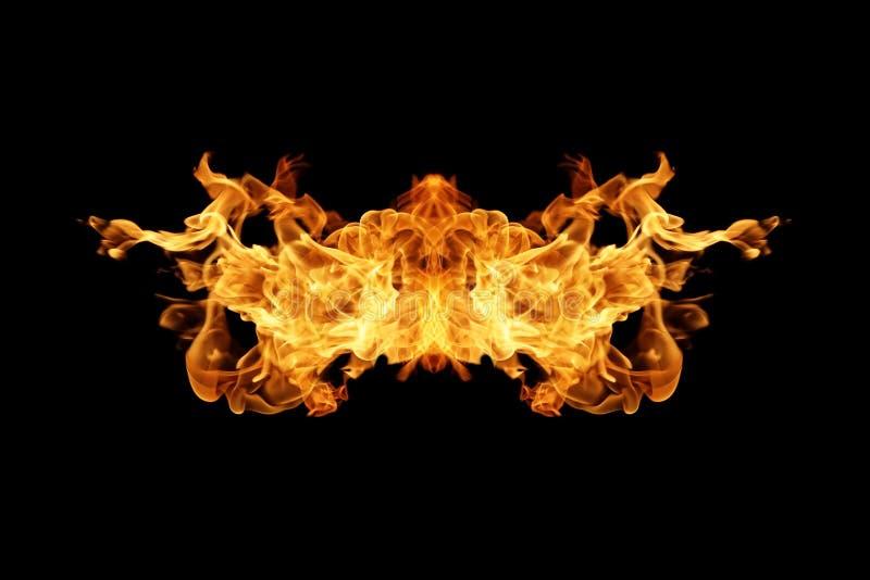De inzameling van brandvlammen op zwarte wordt geïsoleerd die stock illustratie