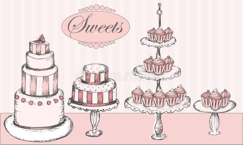 De inzameling van cakes, cupcakes en cake knalt royalty-vrije illustratie