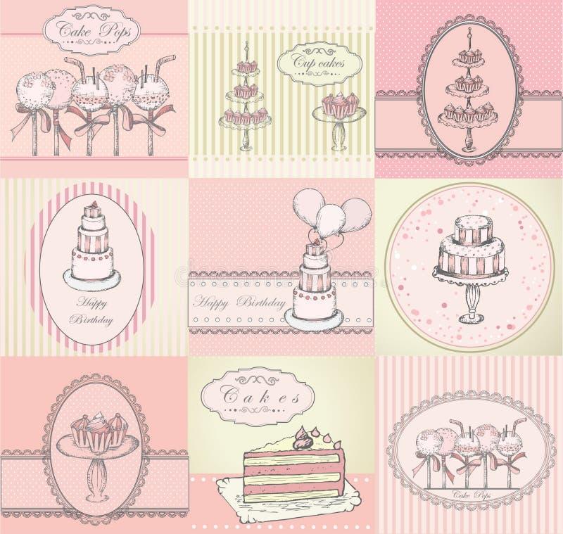 De inzameling van cakes, cupcakes en cake knalt achtergrond royalty-vrije illustratie
