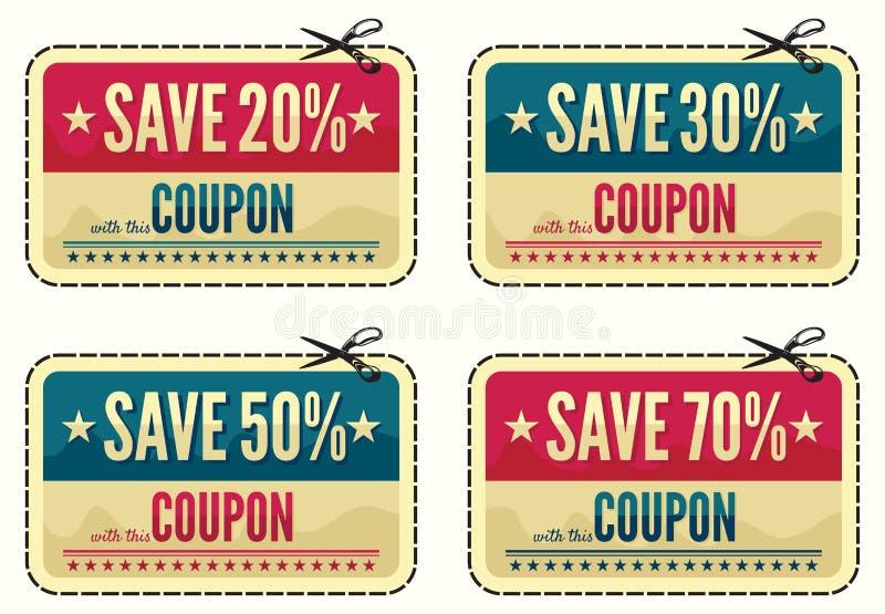 De inzameling van de couponverkoop vector illustratie
