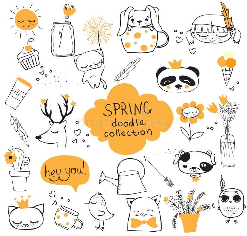 De inzameling van de de lentekrabbel stock illustratie