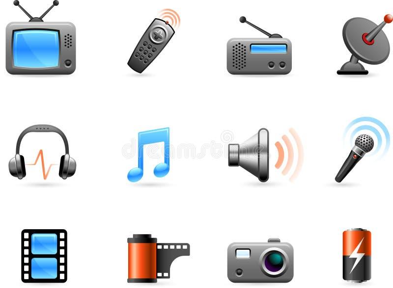 De inzameling van de elektronika en van het pictogram van Media royalty-vrije illustratie