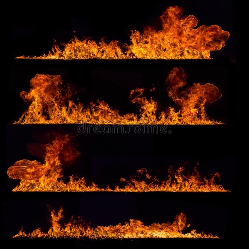De inzameling van de hoge resolutiebrand op zwarte stock foto's