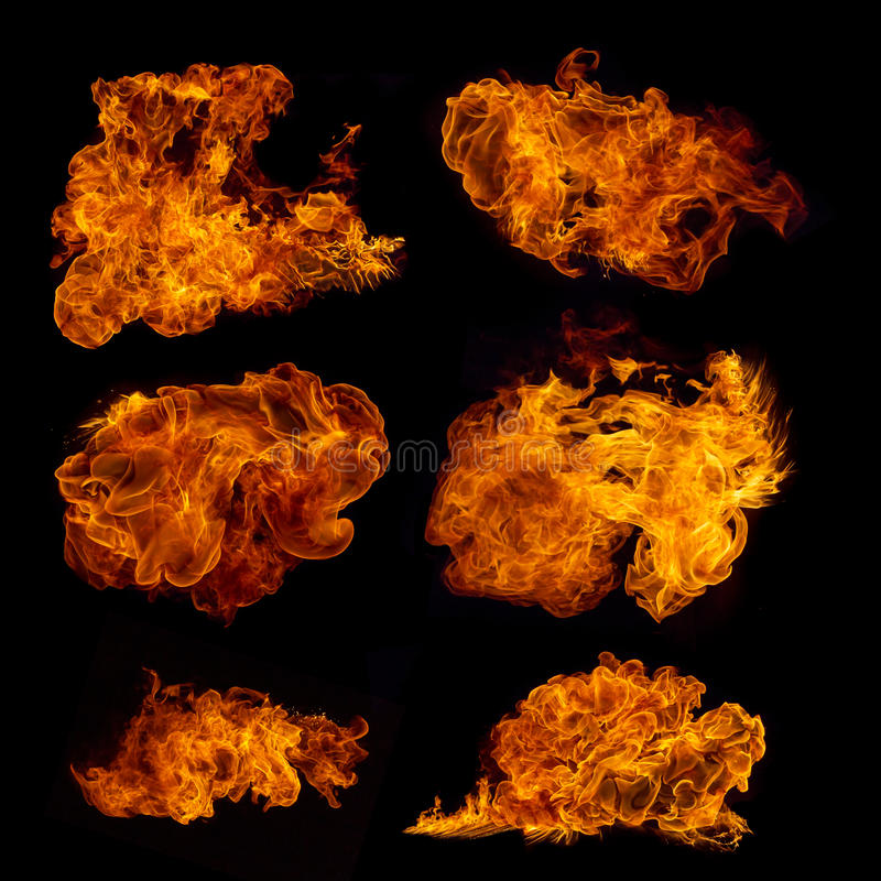 De inzameling van de hoge resolutiebrand op zwarte stock afbeelding