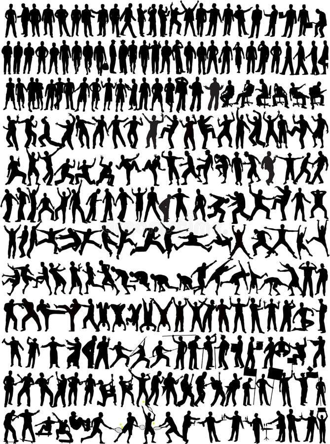 De Inzameling van de mens - silhouett 245 royalty-vrije illustratie