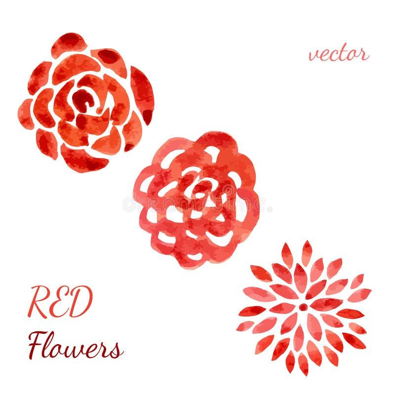 De inzameling van de rozenwaterverf Geplaatste bloemen Vectorhand getrokken illustratie voor uitnodiging, huwelijk en groet stock illustratie