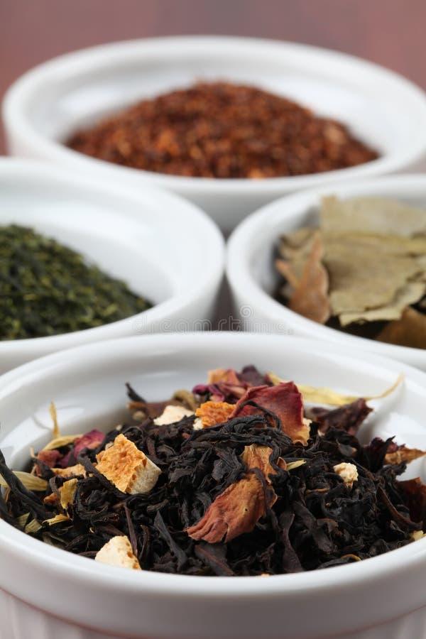De inzameling van de thee - op smaak gebrachte zwarte thee stock afbeelding