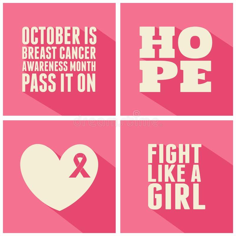 De Inzameling van de Voorlichtingskaarten van borstkanker vector illustratie