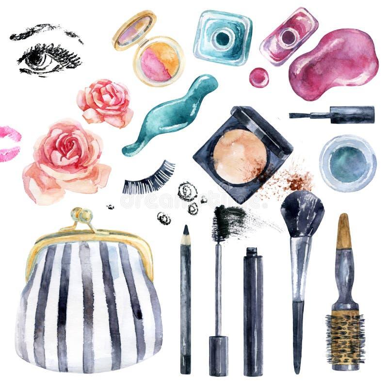 De inzameling van de waterverfschoonheid voor make-up Modieus ontwerp vector illustratie