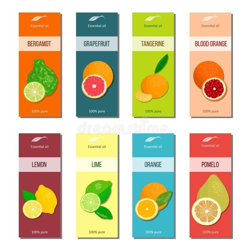 De inzameling van etherische olieetiketten Bergamot, citroen, grapefruit, kalk, mandarin, pompelmoes, sinaasappel, bloedsinaasapp stock illustratie