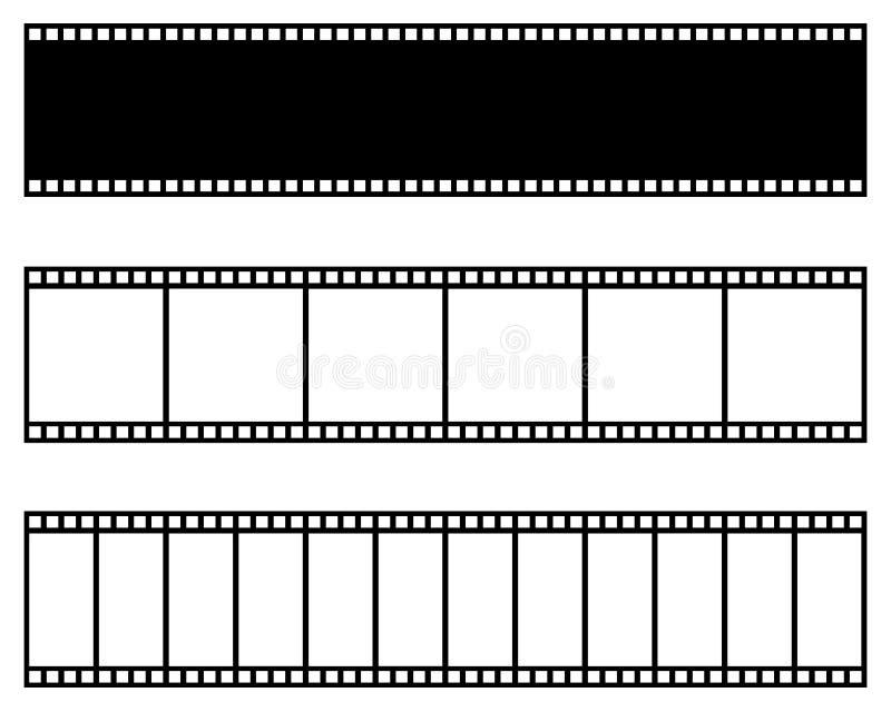 De inzameling van de filmstrook Vector Malplaatje Bioskoop, film, foto, filmstripkader royalty-vrije illustratie