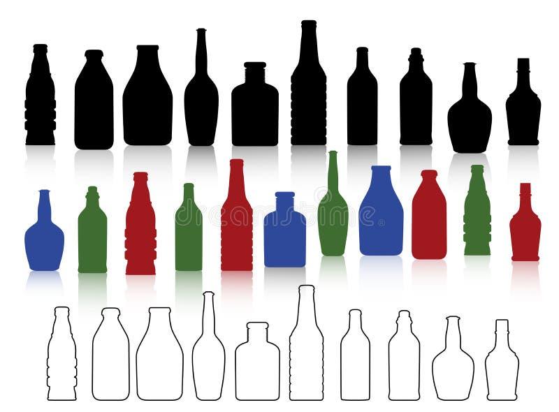 De inzameling van flessen stock afbeelding