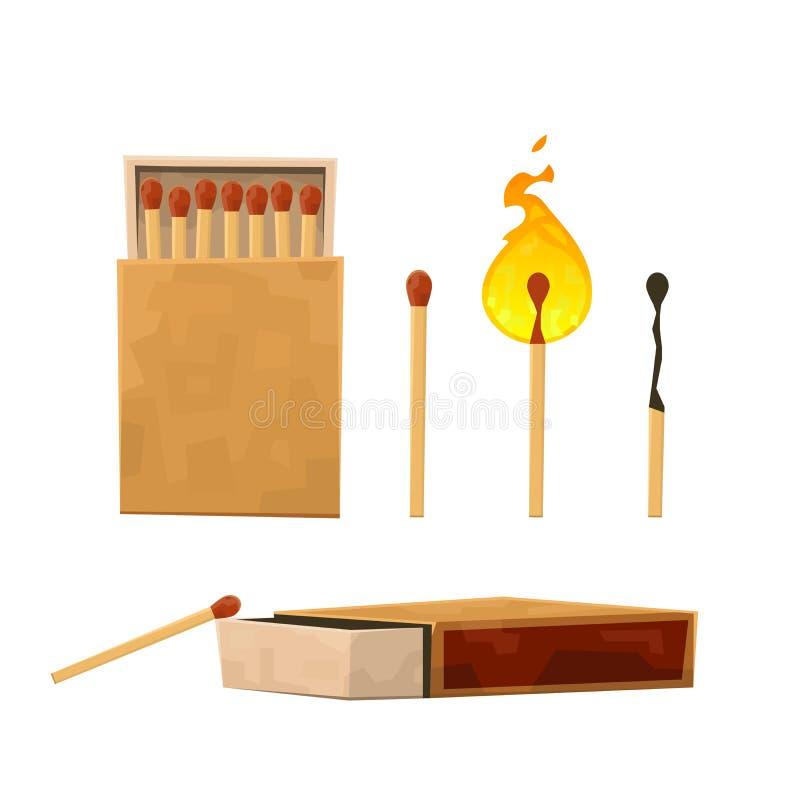 De inzameling van gelijken, brandende gelijke met brand, opende gebrand lucifersdoosje, matchstick vector illustratie