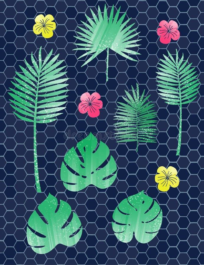 De inzameling van groene tropische bladeren, palm vertakt zich, banaanblad en exotische regenwoudbladeren in beeldverhaalstijl royalty-vrije illustratie