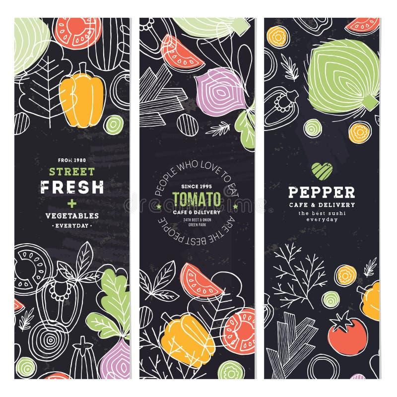 De inzameling van de groentenbanner Lineaire grafisch Groentenachtergronden Skandinavische stijl Gezond voedsel Vector illustrati vector illustratie