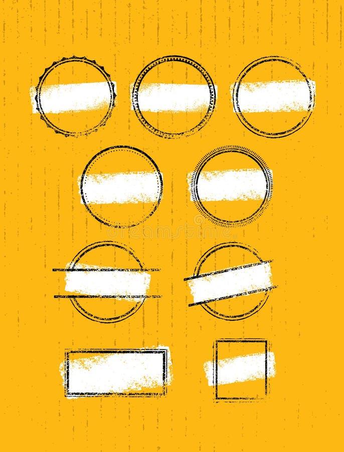 De Inzameling van Grungepostzegels van Cirkels Geplaatste banners, Insignes, Emblemen, Pictogrammen, Etiketten en Kentekens vector illustratie