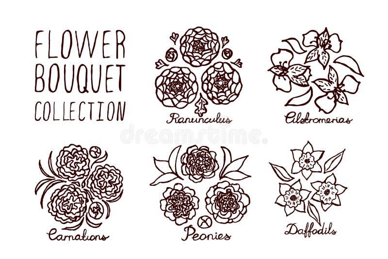 De inzameling van Handsketchedboeketten royalty-vrije illustratie
