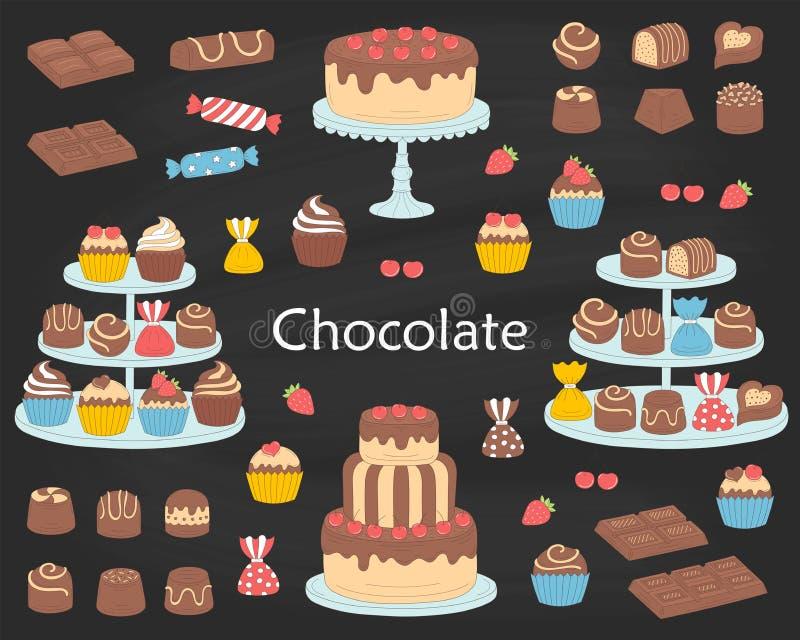 De inzameling van het chocoladedessert, met de cakes van de chocoladekers, royalty-vrije illustratie