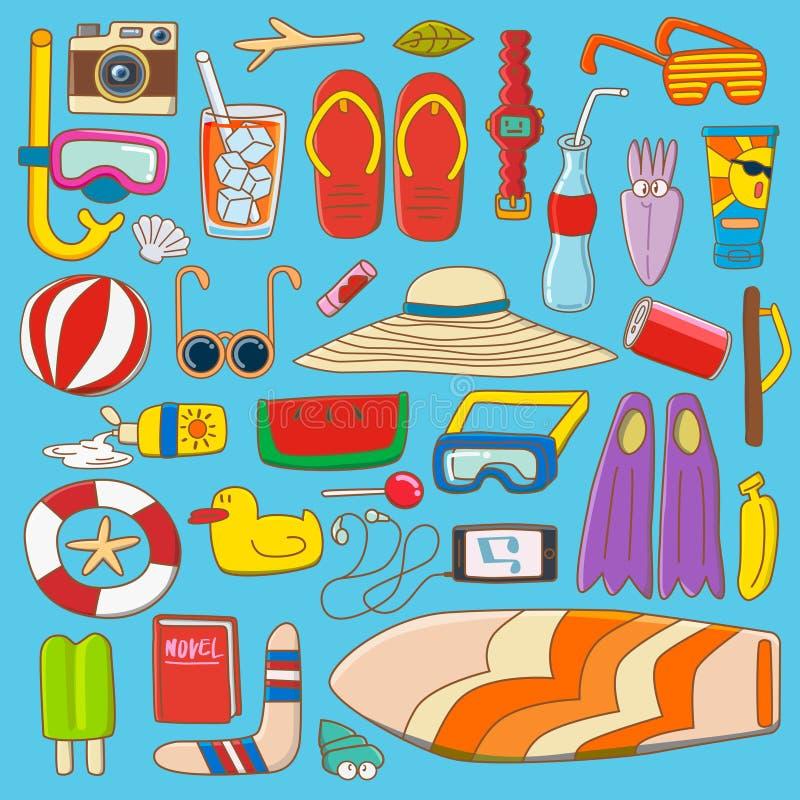 De inzameling van het de zomermateriaal stock illustratie