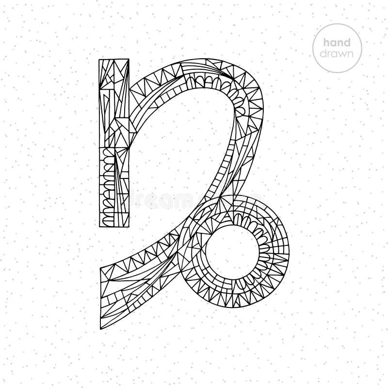 De inzameling van het de dierenriemteken van Steenbok De vectorhand getrokken illustratie van de horoscoopreeks Astrologische kle royalty-vrije illustratie