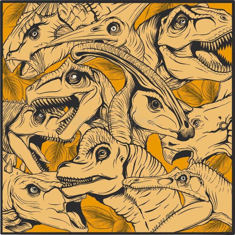 De inzameling van het dinosaurussenbeeldverhaal, kleurrijke reeks van fantasie leuke monsters, dieren en voorhistorisch karakter  royalty-vrije illustratie