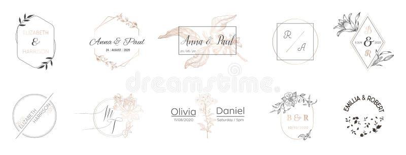 De inzameling van het huwelijksmonogram, Moderne Minimalistic en Bloemenmalplaatjes voor Uitnodigingskaarten, sparen de Datum, Em stock illustratie