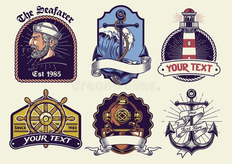 De inzameling van het kentekensontwerp zeevaart in wijnoogst ziet eruit stock illustratie