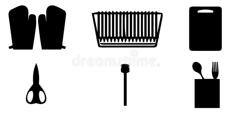 De inzameling van het keukenhulpmiddel - vectorsilhouet Assortiment van het koken van werktuigensilhouetten stock illustratie