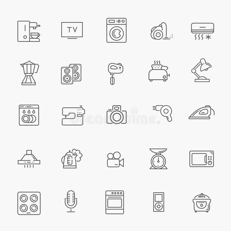 De inzameling van het overzichtspictogram - huishoudapparaten stock illustratie