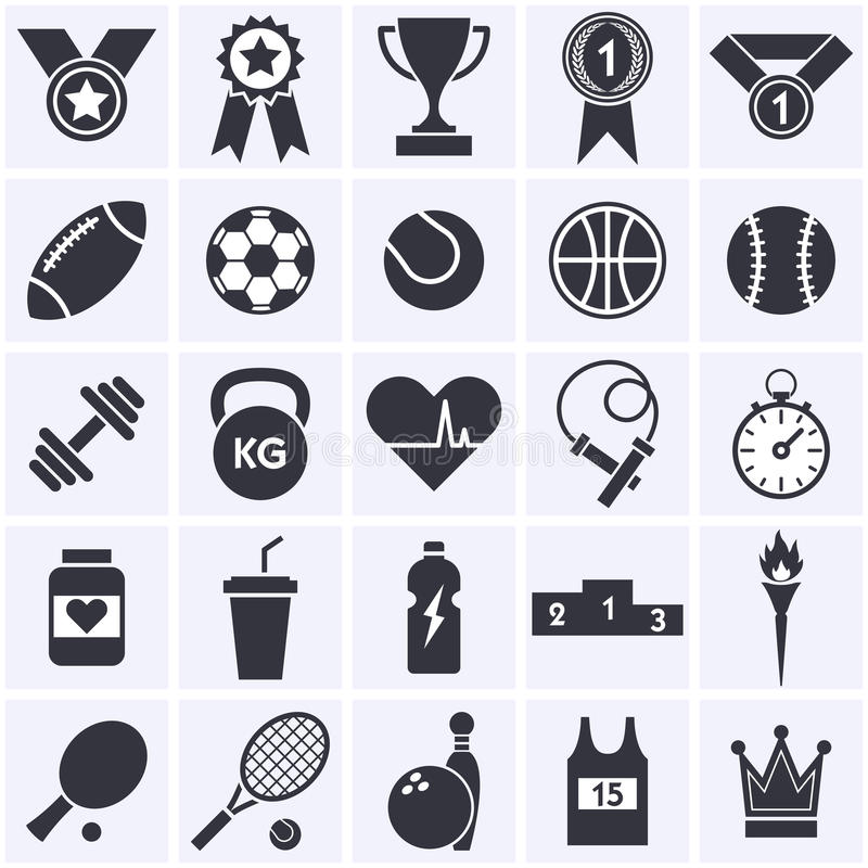 De inzameling van het sportenpictogram stock illustratie