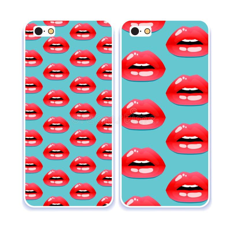 De inzameling van het telefoongeval Schoonheidsmiddelen en make-uppatroon Open mond Zoete Kus Retro mobiele telefoonoverdrukplaat stock illustratie