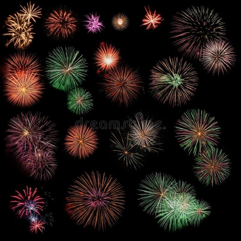 De inzameling van het vuurwerk vector illustratie