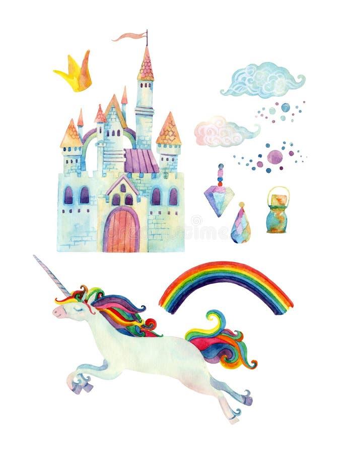 De inzameling van het waterverfsprookje met eenhoorn, regenboog, kasteel, magische halfedelstenen en fee betrekt vector illustratie