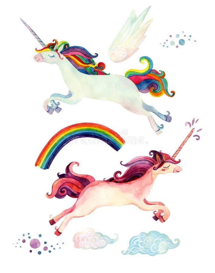 De inzameling van het waterverfsprookje met vliegende eenhoorn, regenboog, magische wolken en feevleugels vector illustratie