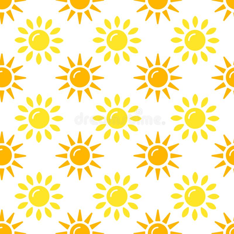 De inzameling van het zonpatroon Naadloos die document met vlakke zonneschijnpictogrammen wordt geplaatst op witte achtergrond Ve stock illustratie