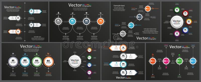 De inzameling van infographic op zwarte achtergrond kan voor werkschemalay-out, diagram, aantalopties, Webontwerp worden gebruikt vector illustratie