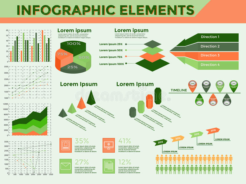 De Inzameling van Infographicelementen stock illustratie