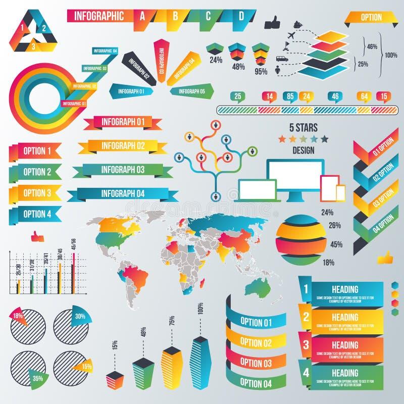 De Inzameling van Infographicelementen - Bedrijfs Vectorillustratie in vlakke ontwerpstijl voor presentatie, boekje, website stock illustratie