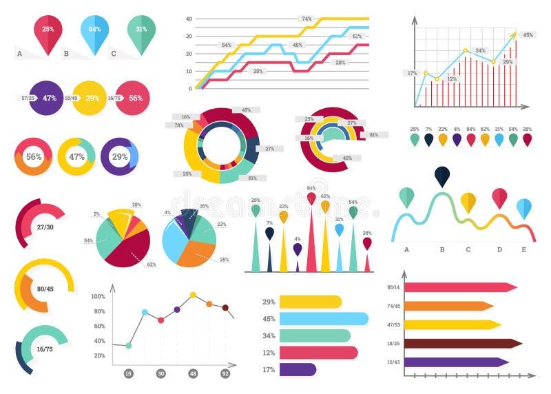 De Inzameling van Infographicelementen - Bedrijfs Vectorillustratie in vlakke ontwerpstijl voor presentatie, boekje, website vector illustratie