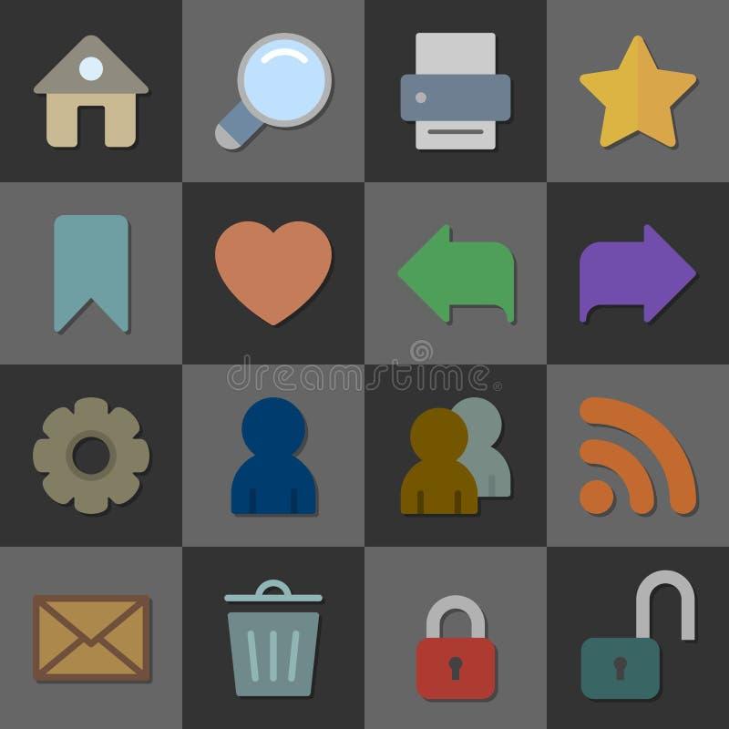 De inzameling van Internet-pictogrammen, kleurt vlak ontwerp royalty-vrije illustratie