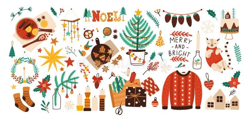 De inzameling van Kerstmisdecoratie, vakantiegiften, de winter breide wollen kleren, overwogen wijn en geïsoleerde gemberbrood vector illustratie
