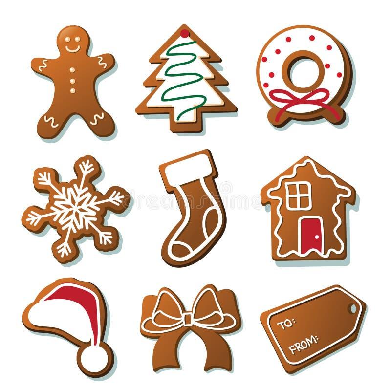 De inzameling van Kerstmiskoekjes op wit vector illustratie