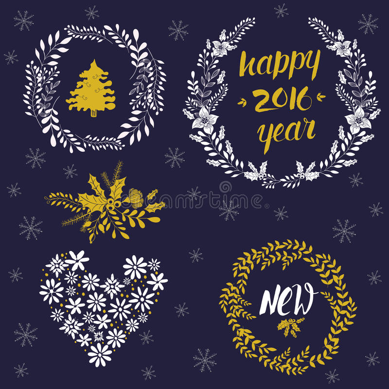 De inzameling van Kerstmiskronen vector illustratie
