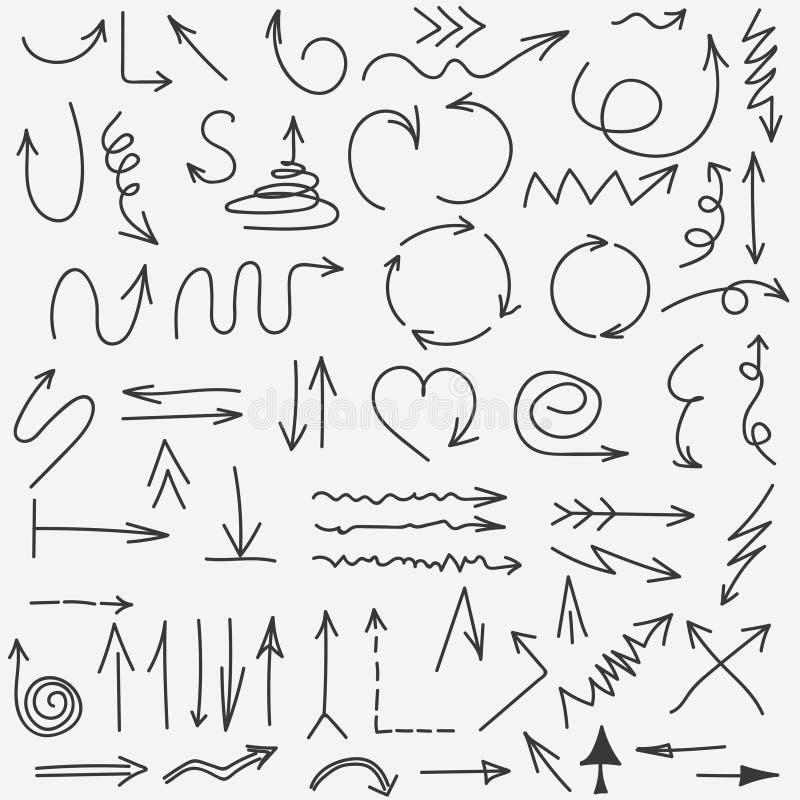 De inzameling van krabbelpijlen Hand getrokken Zwarte pijl vastgestelde elementen Vector vector illustratie