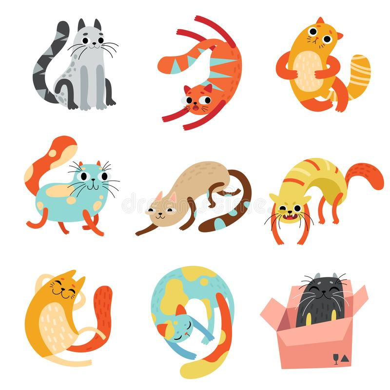 De inzameling van Leuke Grappige Katten in Verschillend stelt Vectorillustratie stock illustratie